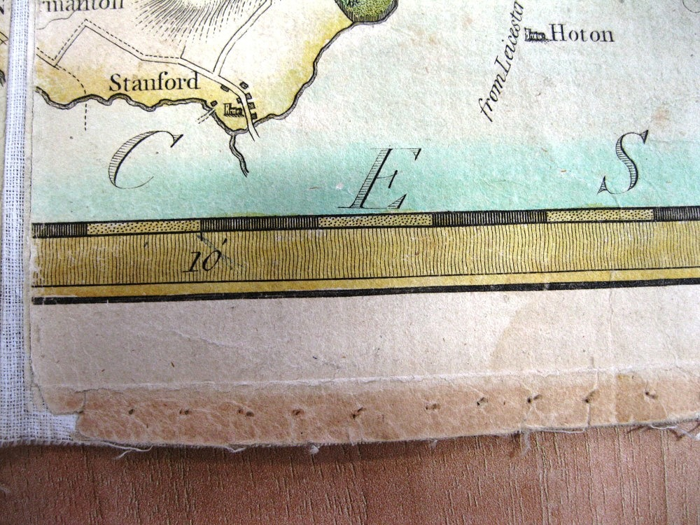 Pin holes around Map 76(1) (Image courtesy of Nottingham Local Studies Library)