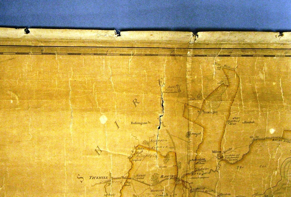 Evidence that Map 76(3) may have been mounted on rollers (Image courtesy of Derbyshire Record Office)