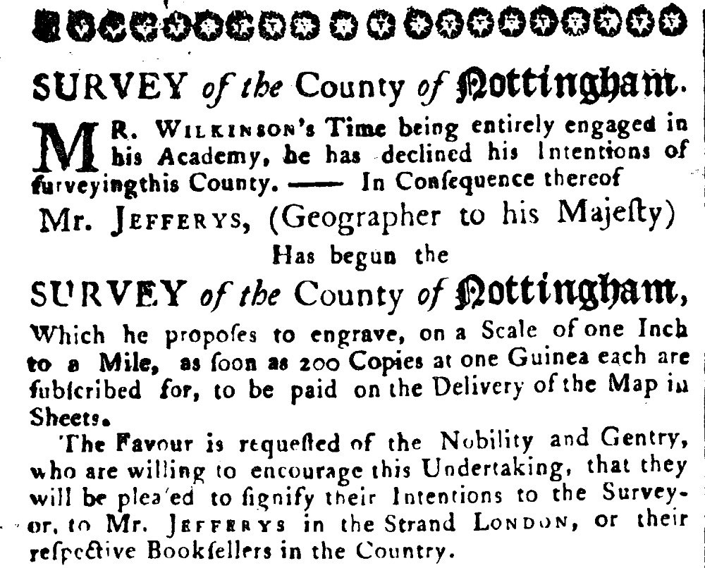 Thomas Jefferys' Proposal to Engrave and Publish a New Map of Nottinghamshire , 23rd September 1769 - Cresswell's Nottingham Journal (Image courtesy of the Manuscripts and Special Collections, The University of Nottingham)