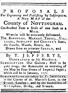 Thomas Jefferys' Proposal to engrave and publish a new map of Nottinghamshire, 20th October 1770 - Cresswell's Nottingham Journal (Image courtesy of Manuscripts and Special Collections, The University of Nottingham)