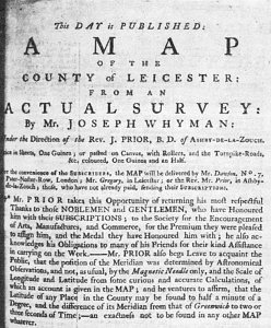 Advertisement for Prior's Map of Leicestershire, Nottingham and Leicester Journal 1779 (Image courtesy of Manuscripts & Special Collections, The University of Nottingham)